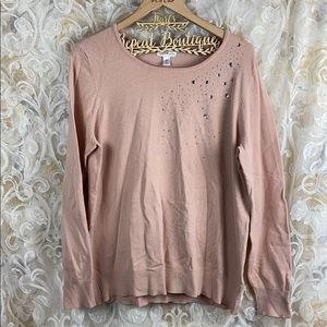Jaclyn Smith dusty rose pink bling gem sweater XL